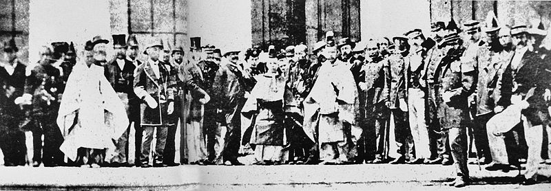 File:Teenager Meiji Emperor with foreign representatives 1868 1870.jpg