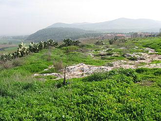 Jezreel (city) - Tel Jezreel looking east toward Gilboa.