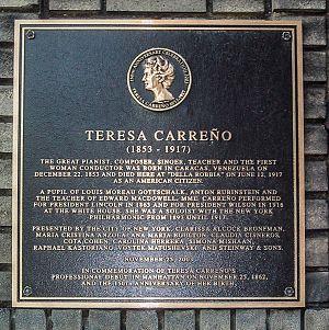 Teresa Carreño - Plaque commemorating Teresa Carreño at the place of her death