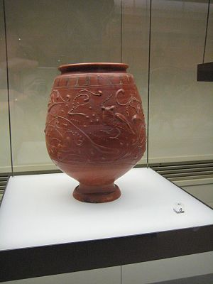 Terra sigillata - Terra sigillata beaker with barbotine decoration