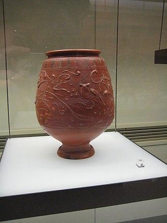 Terra sigillata - Terra sigillata beaker with barbotine decoration