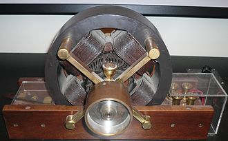 Induction motor - A model of Nikola Tesla's first induction motor at the Tesla Museum in Belgrade, Serbia
