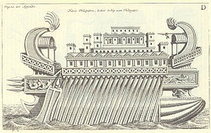 Thalamegos - Drawing of Thalamegos, by Nicolaes Witsen, 1671.