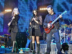 The Corrs - (L-R) Sharon, Andrea and Jim Corr in concert