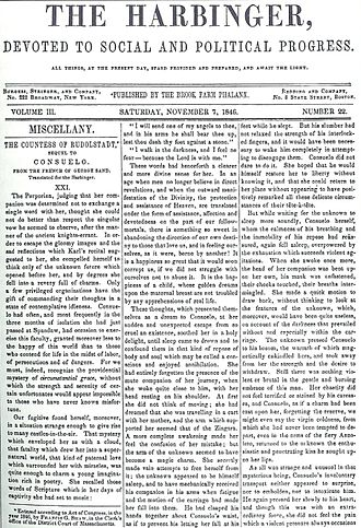 Brook Farm - November 7, 1846, issue of The Harbinger, printed at Brook Farm