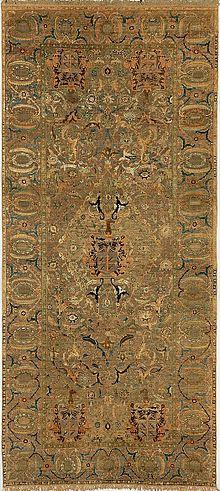 فرش اصفهانی ساخته شده از پنبه ابریشم و فلز متعلق به سده