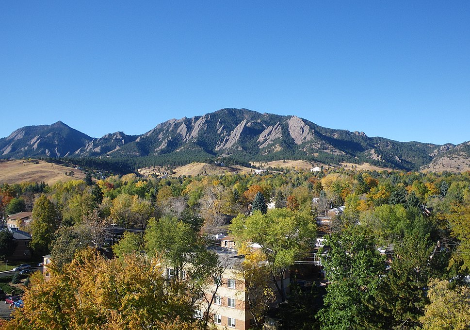 The Flatirons in autumn.