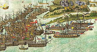 French invasion of the Isle of Wight - A French fleet attacks Bembridge in 1545.