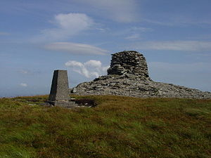 Paps of Anu - The cairn and trig pillar on top of the western Pap