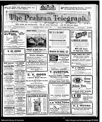 Prahran, Victoria - The Prahran Telegraph, front page from April 1918