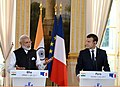 The Prime Minister, Shri Narendra Modi and the President of France, Mr. Emmanuel Macron at the Joint Press Meet, in Paris on June 03, 2017.jpg