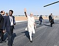 The Prime Minister, Shri Narendra Modi departing from Deesa, after the inauguration of the Amul Cheese Plant and Whey Drying Plant, in Palanpur, Banaskantha, Gujarat on December 10, 2016.jpg