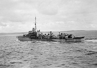 HMS Savage (G20) - Looking weather battered and worn, the destroyer HMS Savage enters Scapa Flow after the Battle of the North Cape which resulted in the sinking of the German battleship Scharnhorst