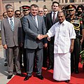 The Russian Defence Minister, Mr. A.E. Serdyukov being welcomed by the Defence Minister, Shri A. K. Antony, in New Delhi on October 10, 2012. The Defence Secretary, Shri Shashikant Sharma is also seen.jpg