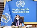 The Union Minister for Health & Family Welfare, Science & Technology and Earth Sciences, Dr. Harsh Vardhan virtually addressing at the 149th Session of the WHO Executive Board Meeting from Nirman Bhawan, in New Delhi on June 02, 2021.jpg