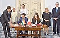 The Vice President, Shri M. Venkaiah Naidu and the President of Malta, Ms. Marie-Louise Coleiro Preca witnessing the signing of MoU between India and Malta on Diplomatic Training, at San Anton Palace, Halbalzan, Malta.JPG