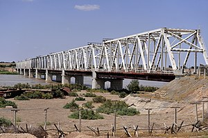 The friendship bridge connects Mangusar, Uzbekistan and Hariatan, Afghanistan.jpg