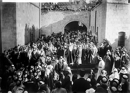 Al-Salt residents gather on 20 August 1920 during the British High Commissioner's visit to Transjordan. The high commissioner's first visit to Transjordan, in Es-Salt..jpg
