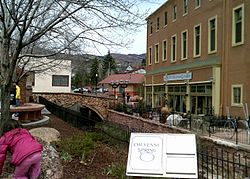 The side of the Spa, with bridge over Fountain Creek.JPG