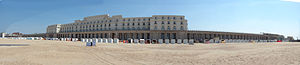 Royal Galleries of Ostend - Panorama of the Royal Galleries and the Thermae Palace Hotel, seen from the beach