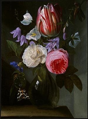 Jan Philip van Thielen - Roses and a tulip in a glass vase