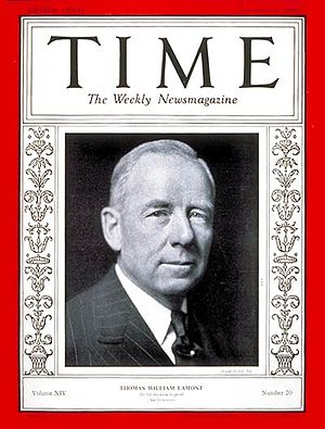 Thomas W. Lamont - Thomas Lamont on the cover of Time Magazine on November 11, 1929