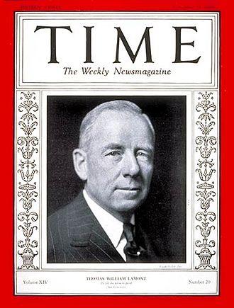 Thomas W. Lamont - Thomas Lamont on the cover of Time Magazine on November 11, 1929