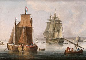 Thomas Buttersworth - A large First Rate, said to be H.M.S. 'Victory', lying off the mouth of the Tagus.jpg