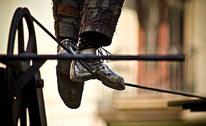 Tightrope walking - The feet of a tightrope walker