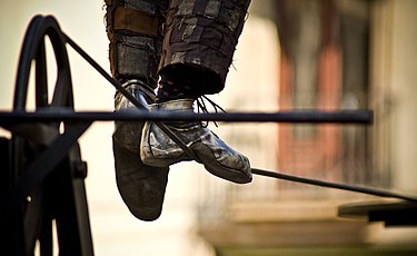 The feet of a tightrope walker Tightrope walking.jpg