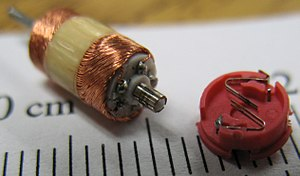 Electric motor - A toy's small DC motor with its commutator