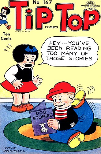 Nancy (comic strip) - Nancy and Sluggo on the  cover of Tip Top number 167 (May 1951). Ernie Bushmiller's distinctive line-work was instantly recognizable.