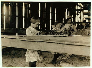 Hazard Powder Company - Child laborers in a tobacco shed at Hawthorn Farm in Hazardville, 1917.  Photo by Lewis Hine.