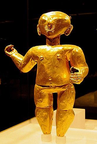 Colombian art - Image: Tolita Tumaco gold figure 1st century BC