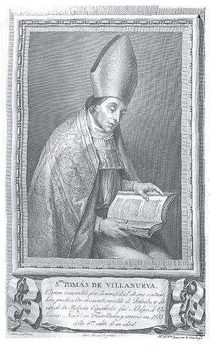 Thomas of Villanova - Old master print of St. Thomas in Portraits of Illustrious Spaniards (Madrid, 1791)