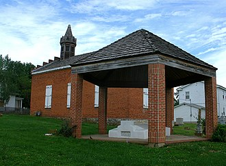 Potosi, Missouri - Tomb of Moses Austin and Maria Brown Austin in Potosi behind the Presbyterian church built in 1832