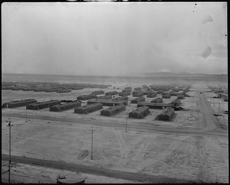 Topaz, Utah. A panorama view of the Central Utah Relocation Center, taken from the water tower. - NARA - 536975