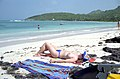 Topless woman at beach of Saint-Barthélemy 2006 2.jpg