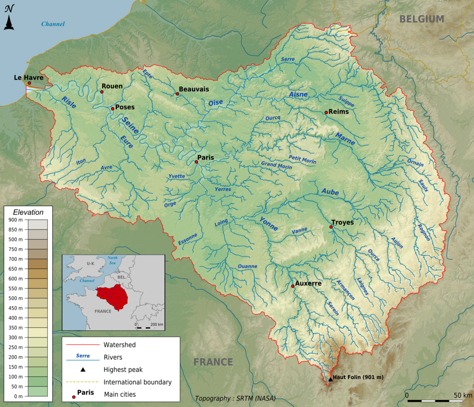 Topographic map of the Seine basin (English png)