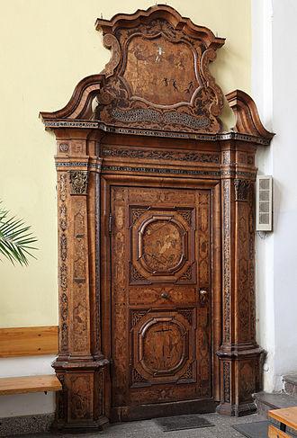 Overdoor - Carved and inlaid Late Baroque supraporte in Toruń, Poland