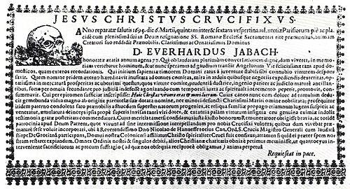 Totenzettel Eberhard Jabach 1695