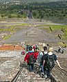 Tourists descending stairs of Pyramid of the Sun, Teotihuacan.jpg