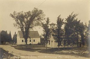 Newfield, Maine - Town Hall and Schoolhouse c. 1915