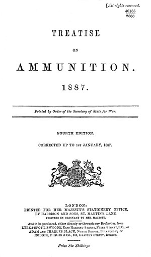 Treatise on Ammunition - Title page of the 4th Edition, 1887