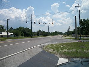Trilby, Florida - Southbound US 98 at the intersection of County Road 575 in Trilby, Florida