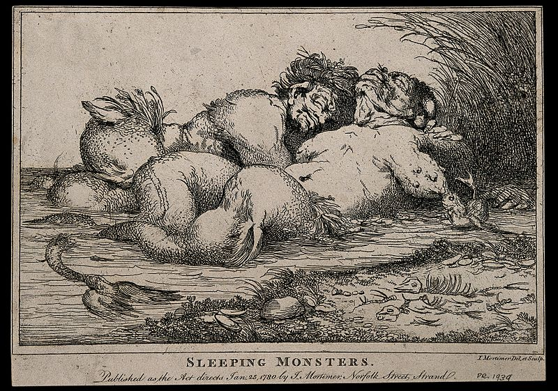 Two sleeping water creatures, similar to mermaids. Etching b Wellcome V0007454.jpg