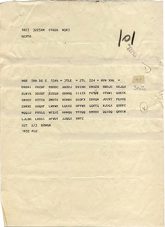 Ultra - A typical Bletchley intercept sheet, before decryption and translation.