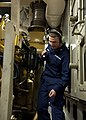U.S. Coast Guard Electrician's Mate 3rd Class Christopher Blankenship inspects a machinery space on the maritime security cutter USCGC Bertholf (WMSL 750) during a drill as part of Arctic Shield 2012 while 120829-G-VS714-207.jpg