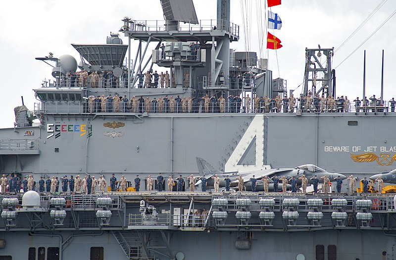 file u s  sailors and marines man the rails aboard the