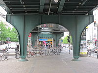 U2 Eberswalder Straße entrance under bridge.jpg